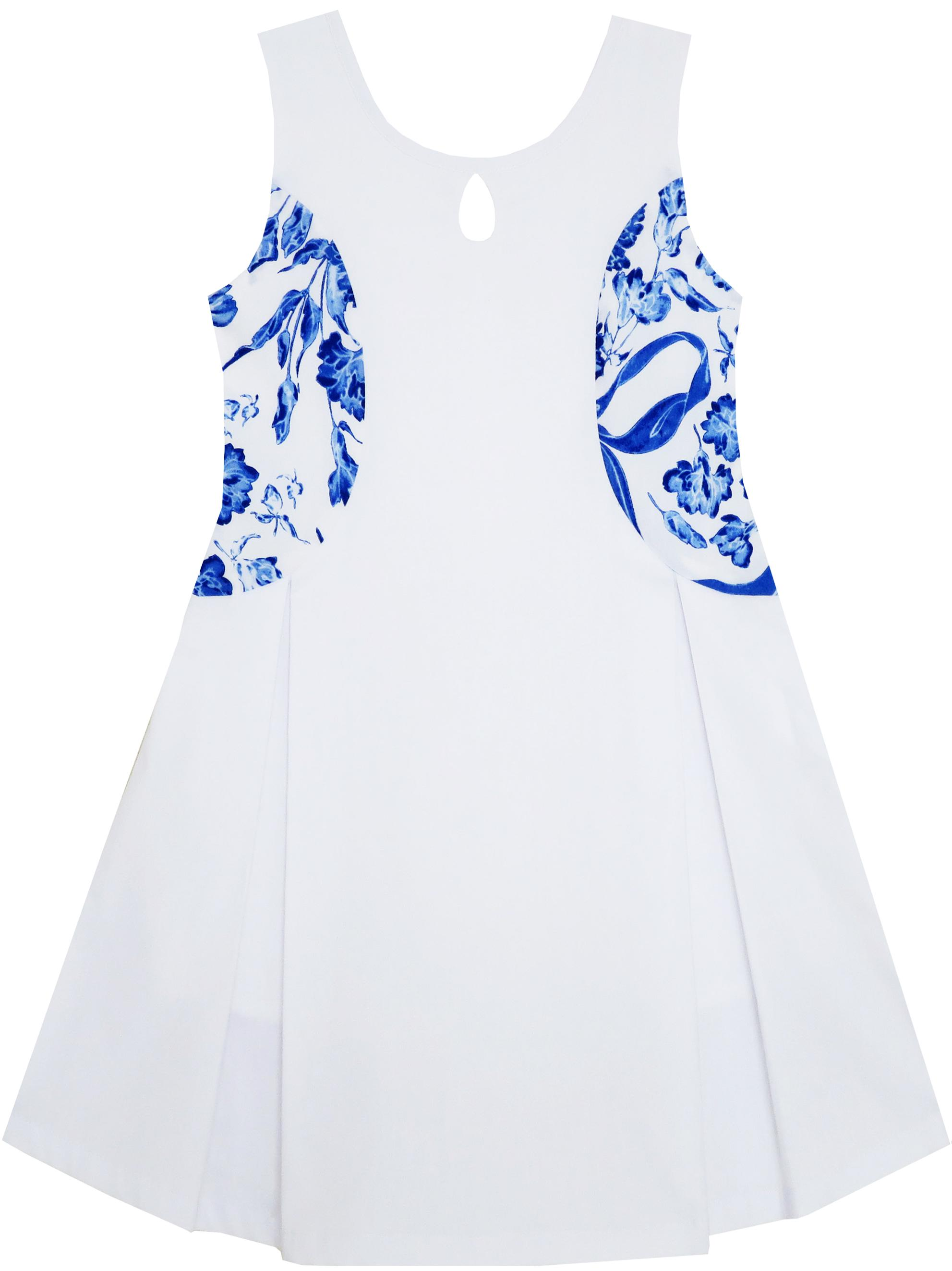 8e19e41e07d Girls Dress Blue White Porcelain Floral Printed Sleeveless Sundress 5