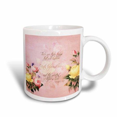 3dRose Faith, Hope and Love Bible Verse with Roses, Ceramic Mug, (Faith Ceramic)