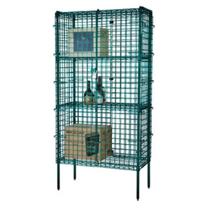 FocusFoodService FSEC244863GN 24 inch W x 48 inch L x 63 inch H Epoxy Security Cage - Green
