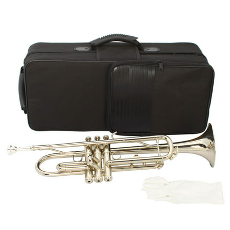 Zimtown B Flat Silver Bb Trumpet for Concert Band with (Strapless Trumpet)