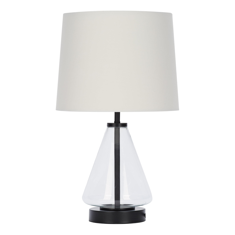 Mainstays Glass With Brass Base Table Lamp 18 H Walmart Com Walmart Com