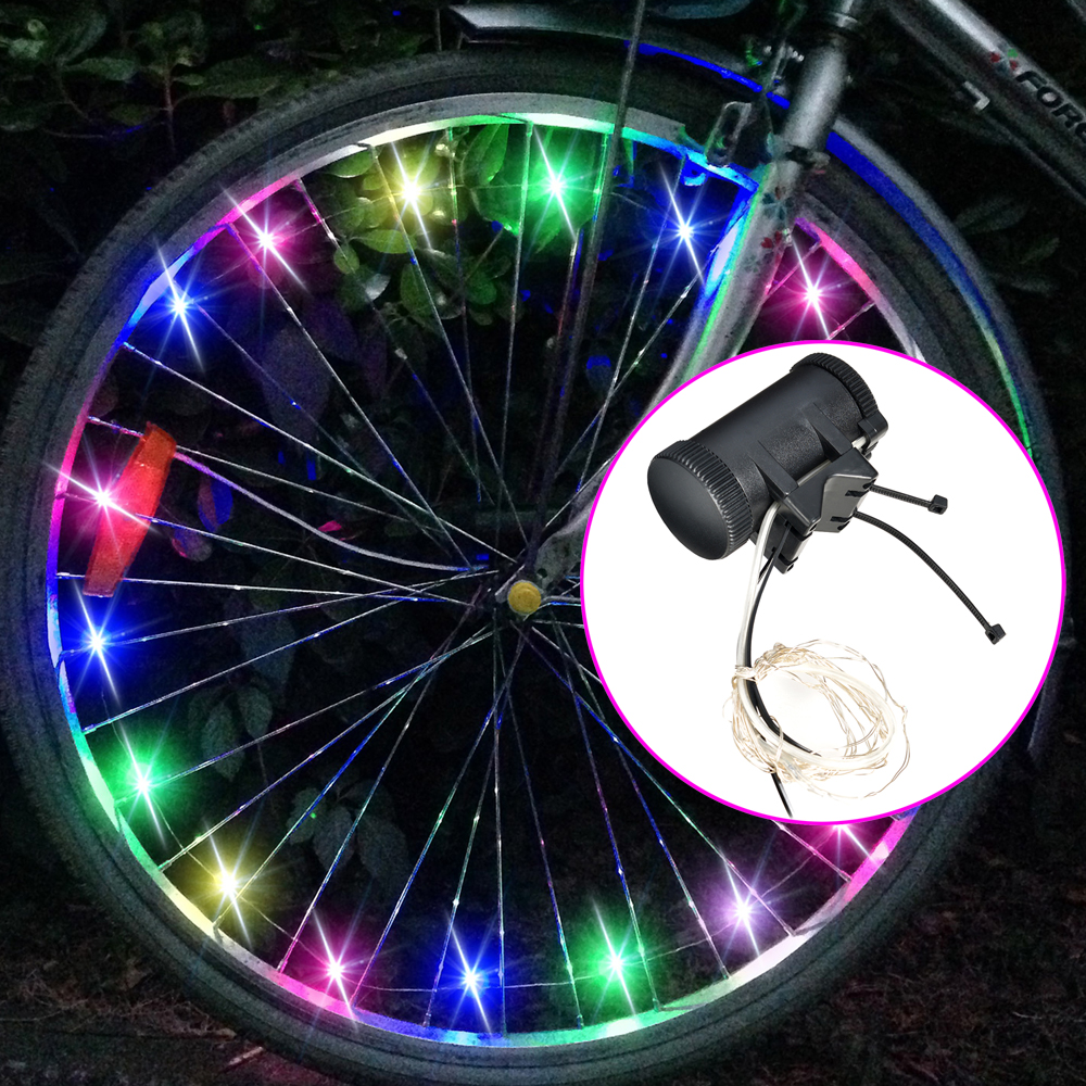 Image Bike Spoke Wheel Lights Bicycle LED Tire Rim Safety Lights Battery Powered Mix-color