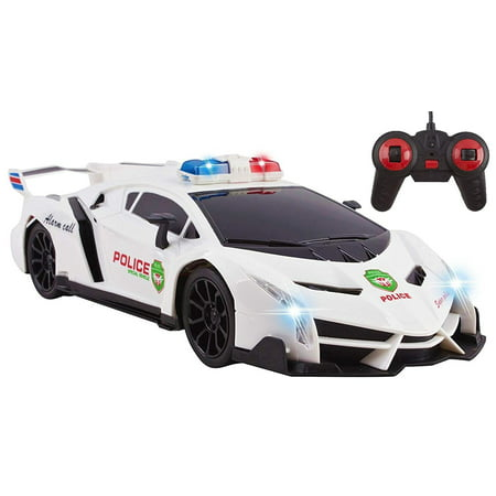 Police RC Car For Kids Super Exotic Large Remote Control Easy To Operate Toy Sports Car with Working Headlights And Sirens Perfect Cop Race Vehicle (White) for $<!---->