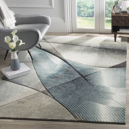 53u0022X76u0022 Geometric Loomed Area Rug Gray/Teal - Safavieh