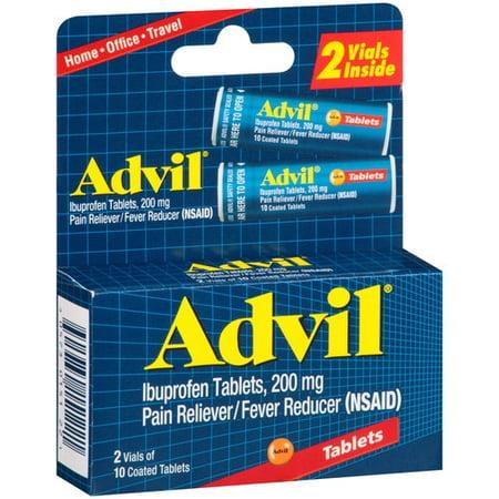 Advil Ibuprofen-douleur / fièvre Réducteur de comprimés enrobés, de 200 mg, 10 comptage (pack de 2)