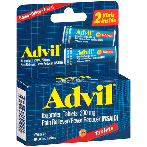 Advil (2 Vials of 10 Tablets) Pain Reliever / Fever Reducer Coated Tablet, 200mg Ibuprofen, Temporary Pain Relief