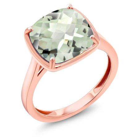 3.33 Ct Cushion Checkerboard Green Prasiolite 14K Rose Gold Engagement Ring