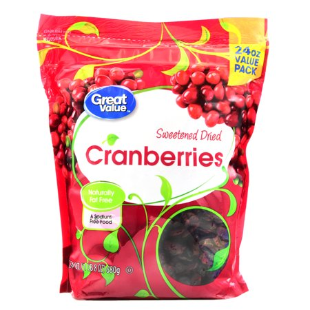 (2 Pack) Great Value Sweetened Dried Cranberries Value Pack, 24 oz