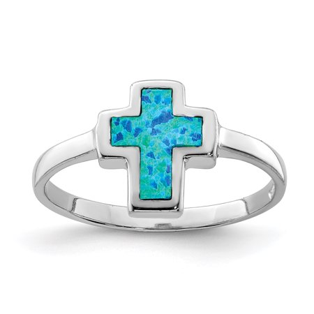925 Sterling Silver Cross Religious Synthetic Opal Band Ring Size 8.00 Gemstone Gifts For Women For Her (religious jewelry for women rings)