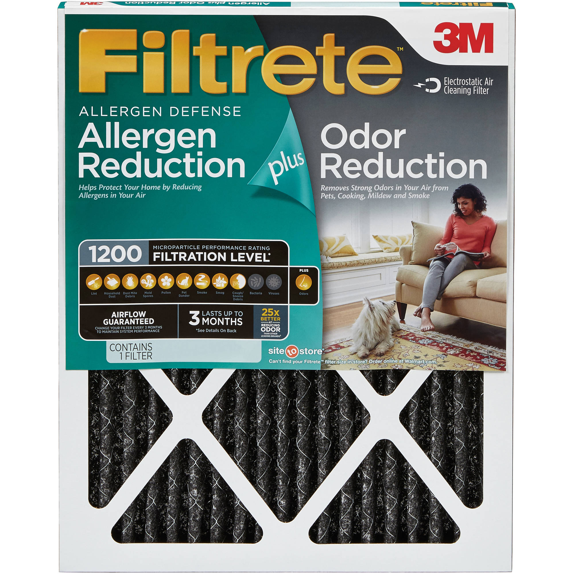 Filtrete Allergen Plus Odor Reduction HVAC Furnace Air Filter, 1200 MPR, 12 x 30 x 1, 1 Filter