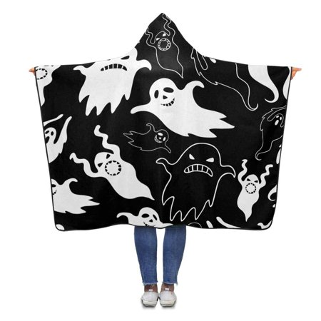 ASHLEIGH Scary Ghosts Throw Hooded Blanket 56x80 inches Adults Girls Boys Wearable Blankets](Scary Ghost Girl)