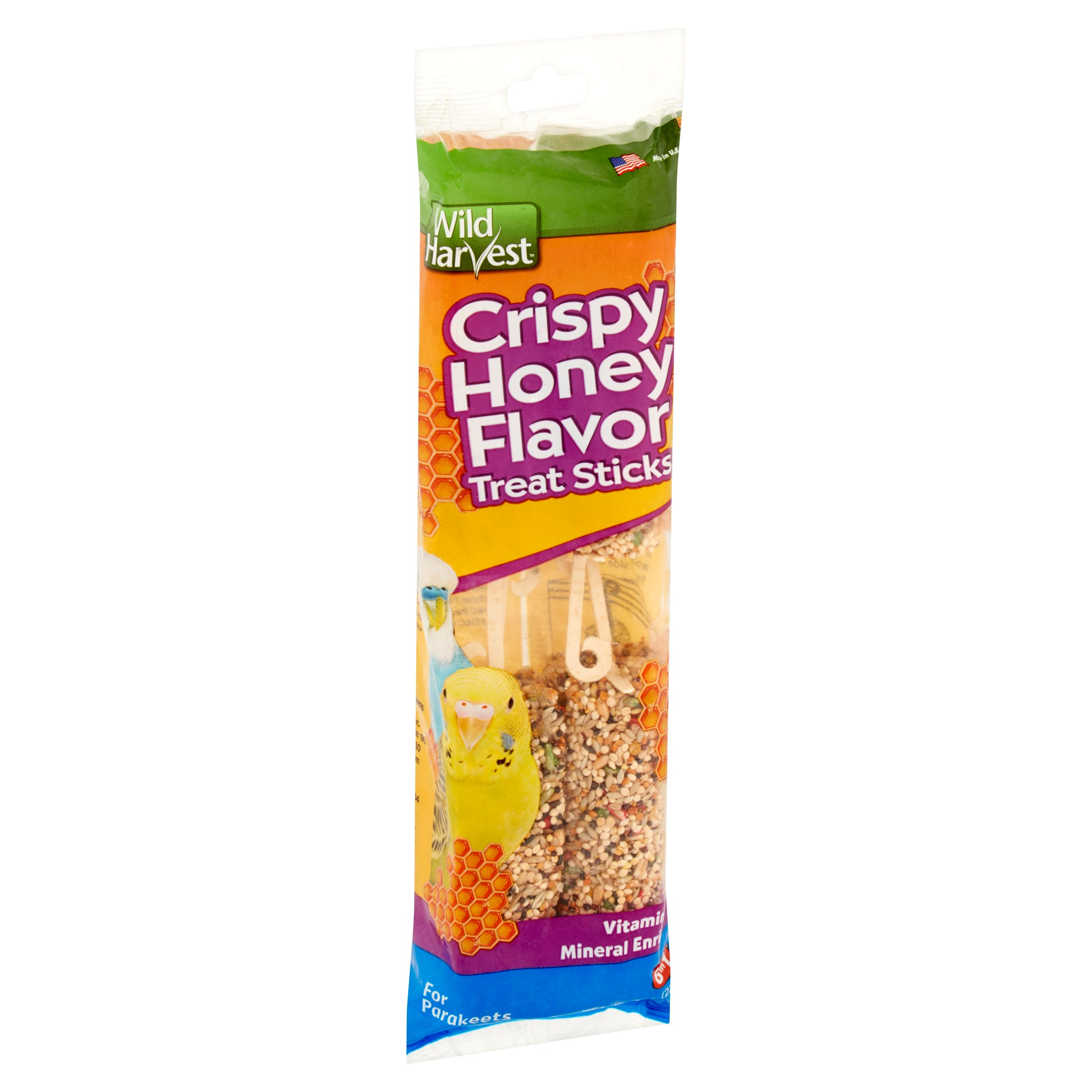 Wild Harvest Crispy Honey Flavor Treat Sticks for Parakeets, 8 oz