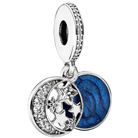 Pandora Vintage Night Sky Silver & Blue Dangle Charm 791993CZ ()