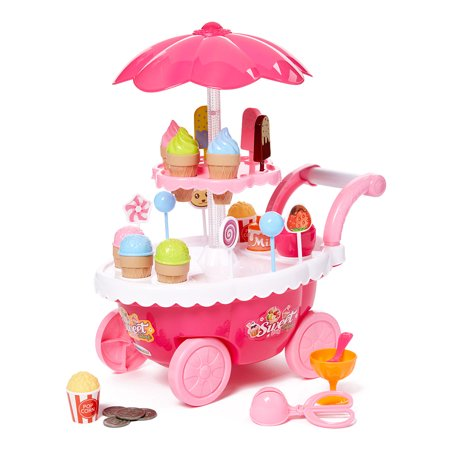 Dash Toyz Ice Cream Candy Cart 39 PCS Pretend Play Food Dessert and Cash Trolley Set Toy with Music and Lighting (Portable Ice Cream Cart)