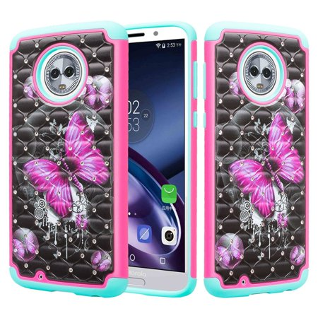 Diamond Pink Motorola Faceplates - SOGA Cover for Phone Compatible Model Moto G6 Case, Diamond Bling Dual Layer Hybrid Protective Case for Motorola Moto G6 [Drop Protection] - Pink Butterfly