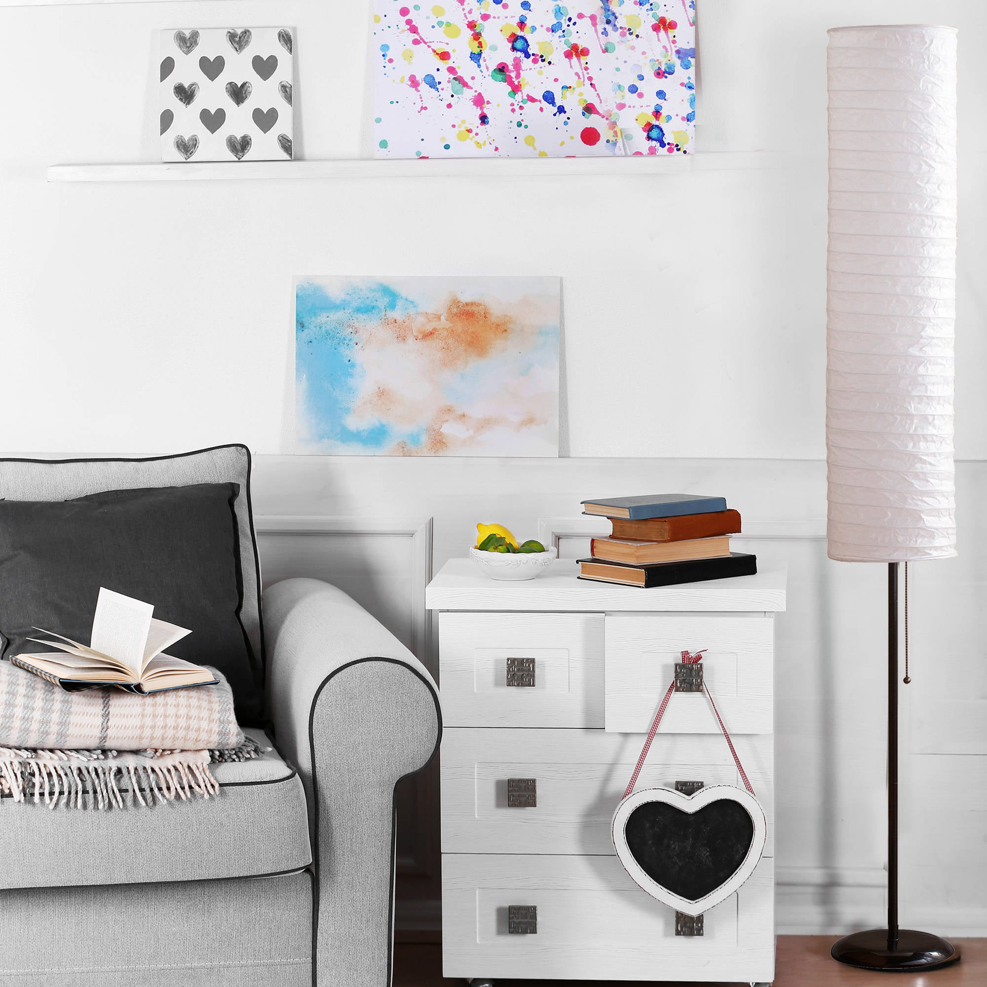 Mainstays 58 rice paper shade floor lamp black finish walmart mozeypictures Image collections