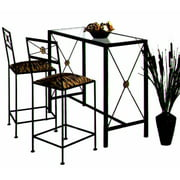 Wrought Iron Bar Set w Glass Top & 2 Counter Stools (Veronica, Aged Iron)