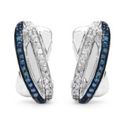 Malaika  Sterling Silver 1/3ct Blue Diamond and White Diamond Earrings