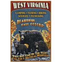 West Virginia - Black Bear Family Vintage Sign: Retro Travel Poster by Eazl Canvas Poster