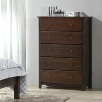 Grain Wood Furniture Shaker 5 Drawer Chest