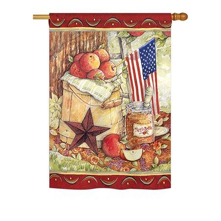 Ornament Collection - Patriotic Americna Apple Americana - Everyday Patriotic Impressions Decorative Vertical House Flag 28