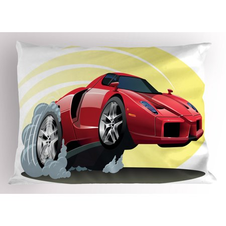 Cars Pillow Sham Powerful Cartoon Red Car Speeding Jumping with Smoke Coming Out Of Giant Tires, Decorative Standard Size Printed Pillowcase, 26 X 20 Inches, Red Yellow Gray, by Ambesonne