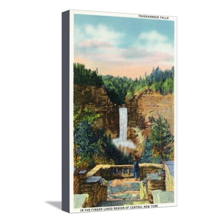 Ithaca, New York - View of Taughannock Falls No. 2 Stretched Canvas Print Wall Art By Lantern
