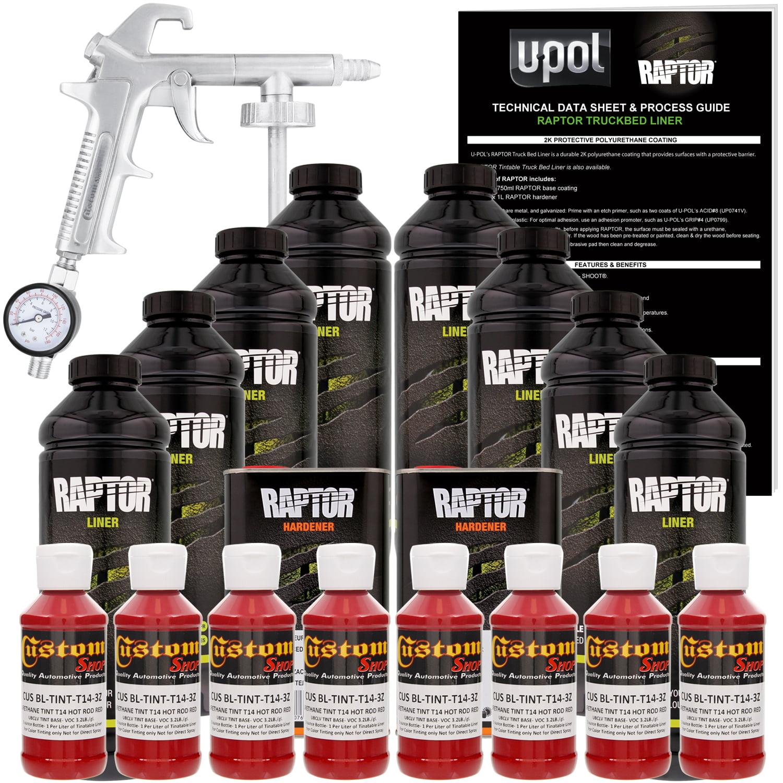 U-POL Raptor Hot Rod Red Urethane Spray-On Truck Bed Liner Kit w/ FREE Custom Coat Spray Gun with Regulator, 8 Liters