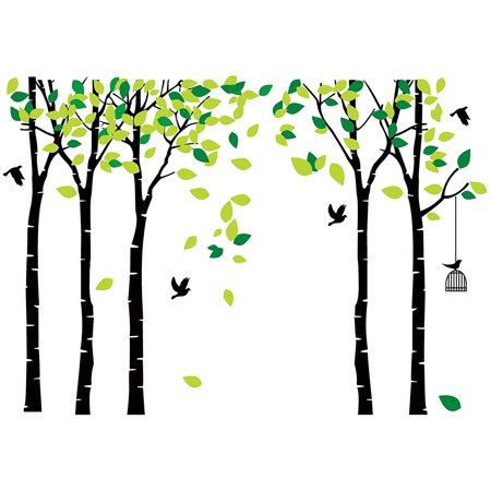 Tayyakoushi Large Five Family Tree Wall Decals with Birds and Birdcage Wall Sticks Family Room Art Decoration (Five-Black) 264x180cm /103.9x70.9 ()