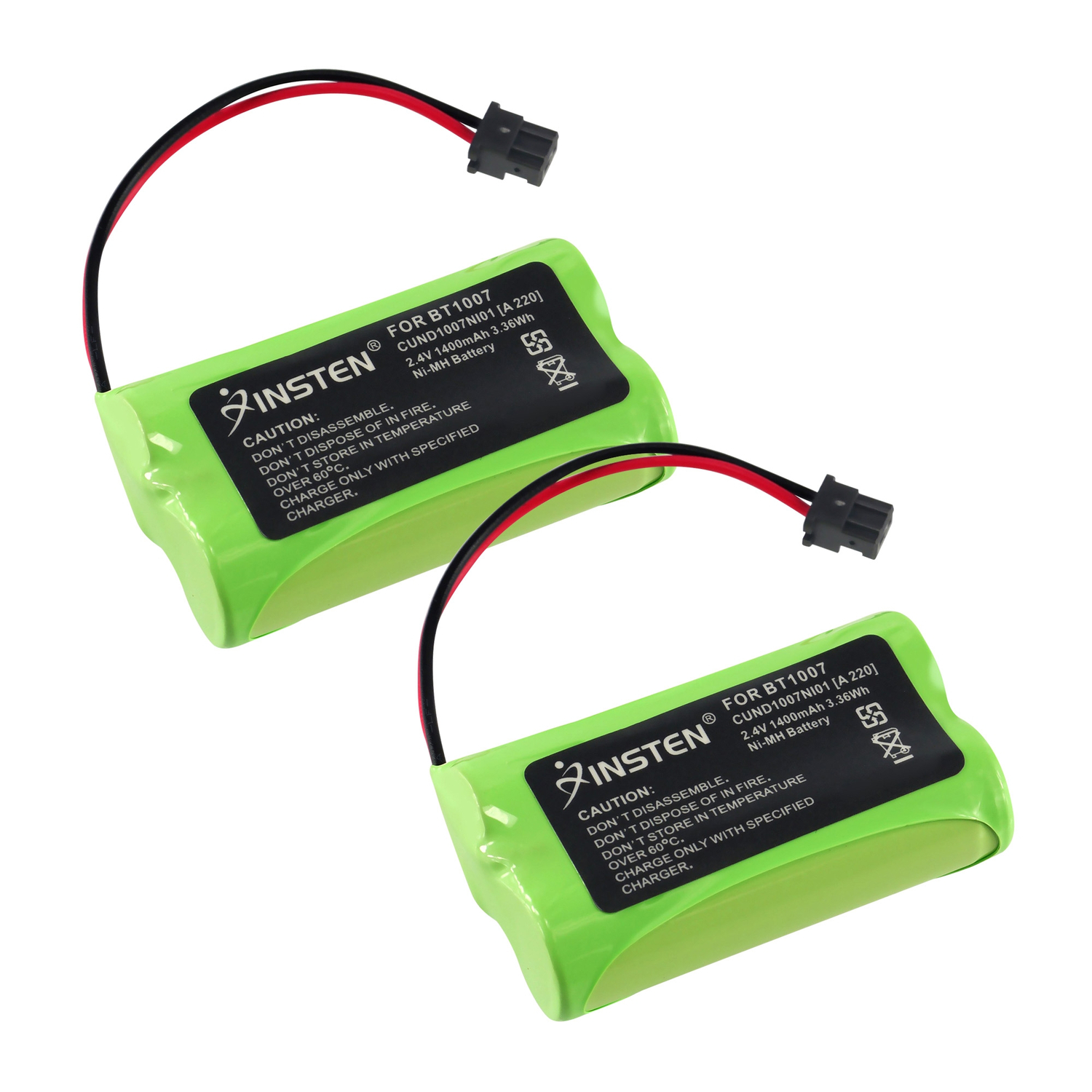 Insten 2-Pack Uniden BT-1007 BT-1015 Cordless Home Phone Replacement battery 1400 mAh