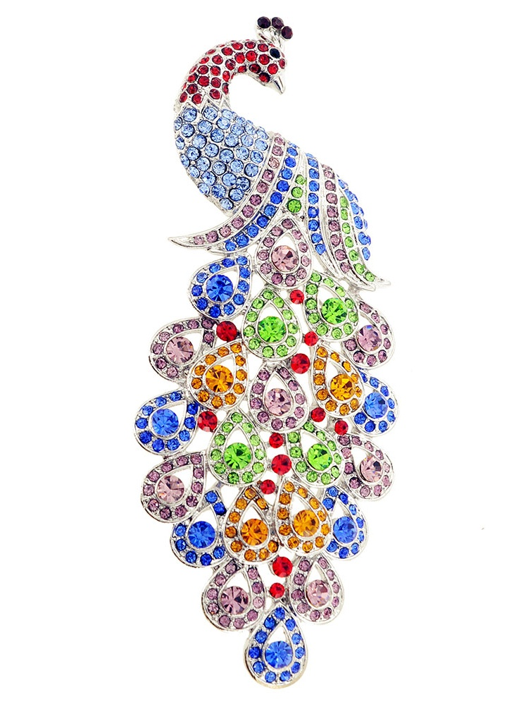 Multicolor Large Gem Drop Peacock Crystal Pin Brooch by
