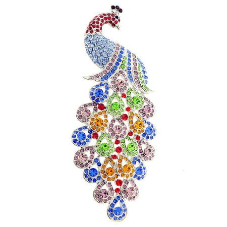 Multicolor Large Gem Drop Peacock Crystal Pin -