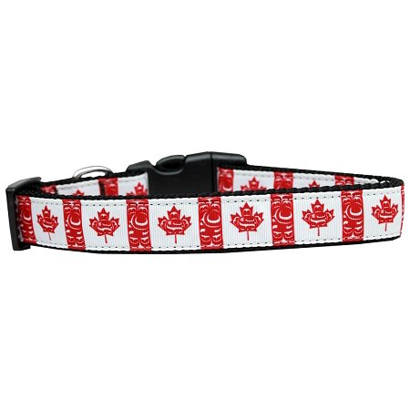 Canadian Flag In Swirls Nylon Dog Collar - Canada Nylon