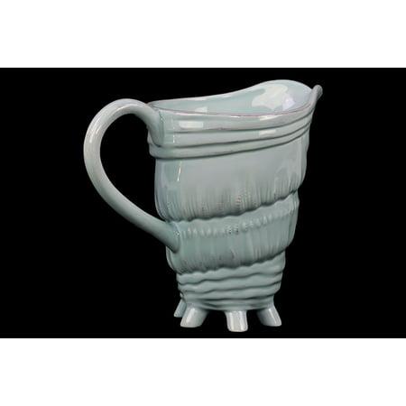 - Benzara Unique & Dazzling Ceramic Seashell Pitcher W/ Multi Tiny Stand In Blue
