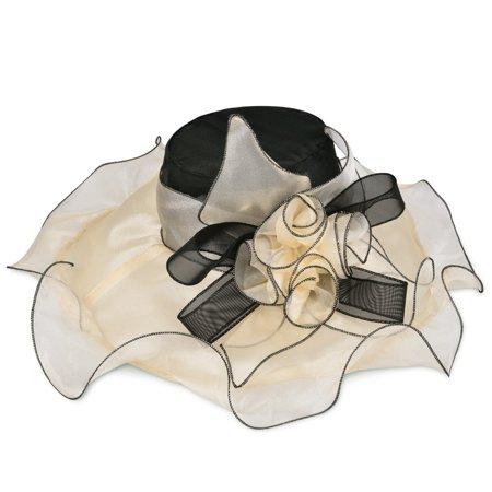 Wedding Bohemia Cap Women Wide Brim Beach Organza Sun Hat Elegant Floppy