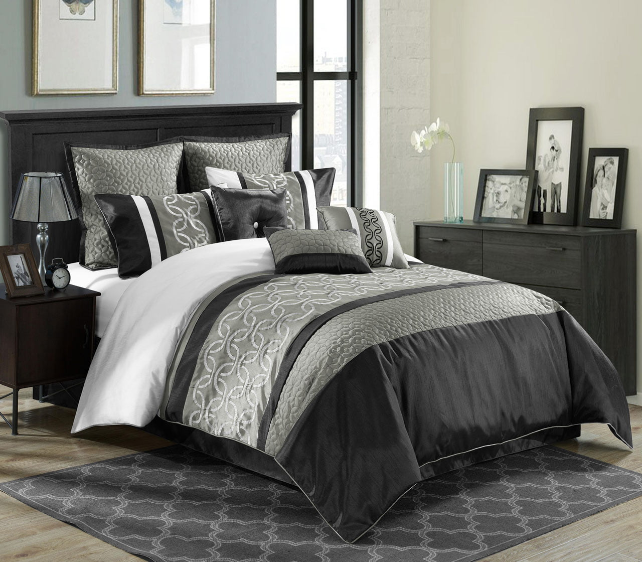 9 Piece Bordeaux Black/Gray/White Comforter Set