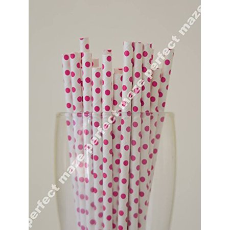 Perfectmaze 50 Pieces Pink Polka Dot Style Paper Straws for Wedding, Baby Shower, Birthday Party and Picnic