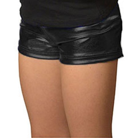 Girl's Foil Metallic Booty Shorts - X Large (12) / Metallic Black - Metallic Booty Shorts
