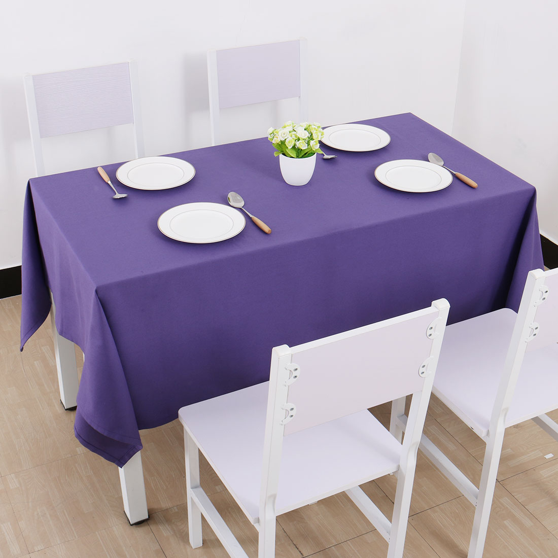 """Vintage Rectangle Cotton Linen Tablecloth Purple 55""""x71"""" Water Stain Resistant - image 5 of 7"""