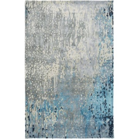 8 X 11 Running Swaths Slate Gray And Ocean Blue Hand Tufted Area Throw Rug