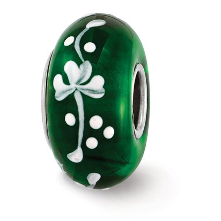 - Fenton Green Hand Painted Clover Glass & Sterling Silver Charm