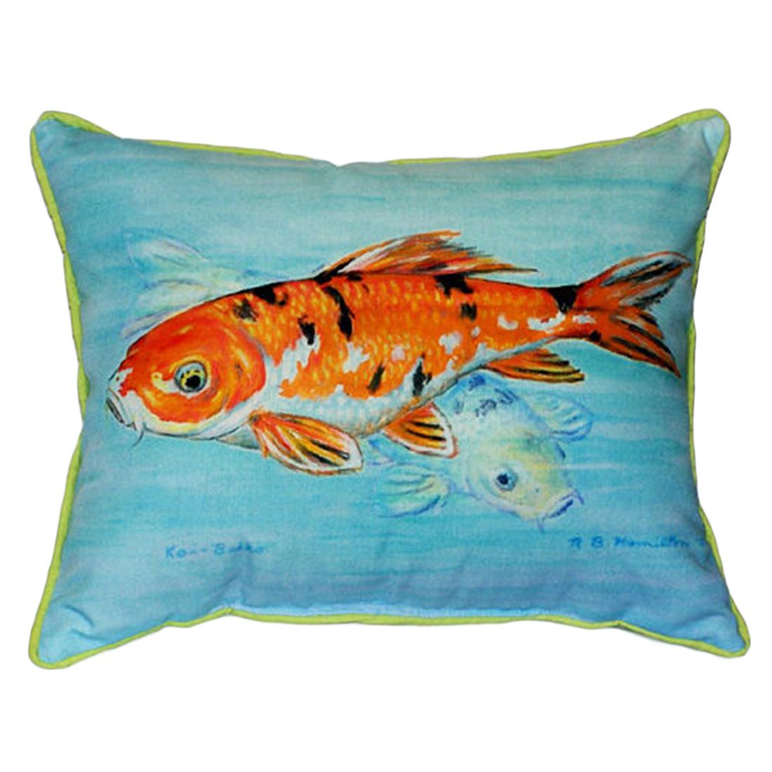 Betsy Drake Orange Koi Fish Extra Large 20 X 24 Indoor / Outdoor Zippered Pillow