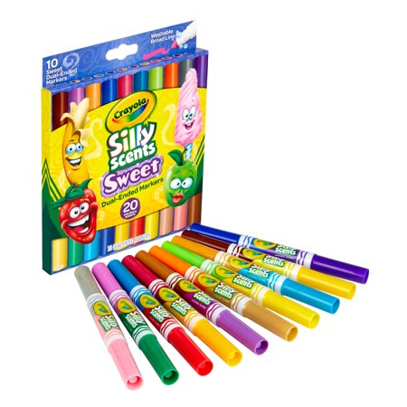 Crayola Silly Scents Dual-Ended Markers, 10 Count- 20 Scents