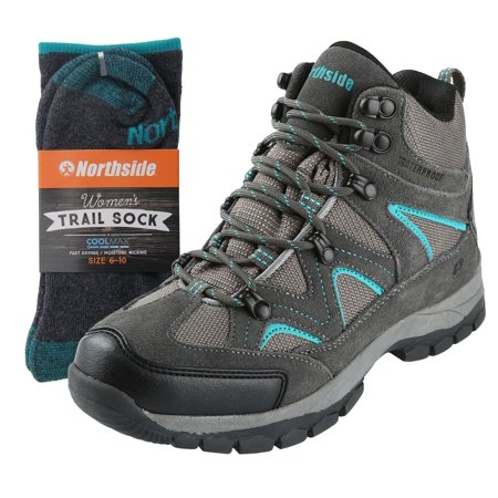 Northside Womens Snohomish Leather Waterproof Mid Hiking Bootand Trail Sock