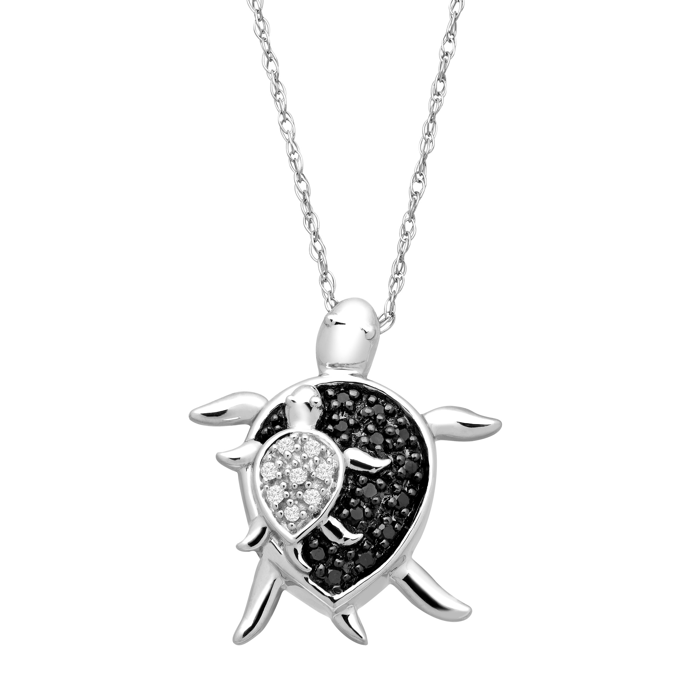 Mother & Baby Turtle Pendant Necklace with Black & White Diamonds in 10kt White Gold by Richline Group