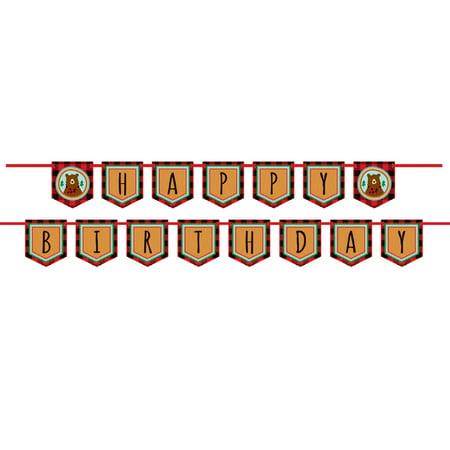 Buffalo Plaid Lumberjack Happy Birthday Banner, 11 ft, 2pc](Sofia The First Happy Birthday Banner)