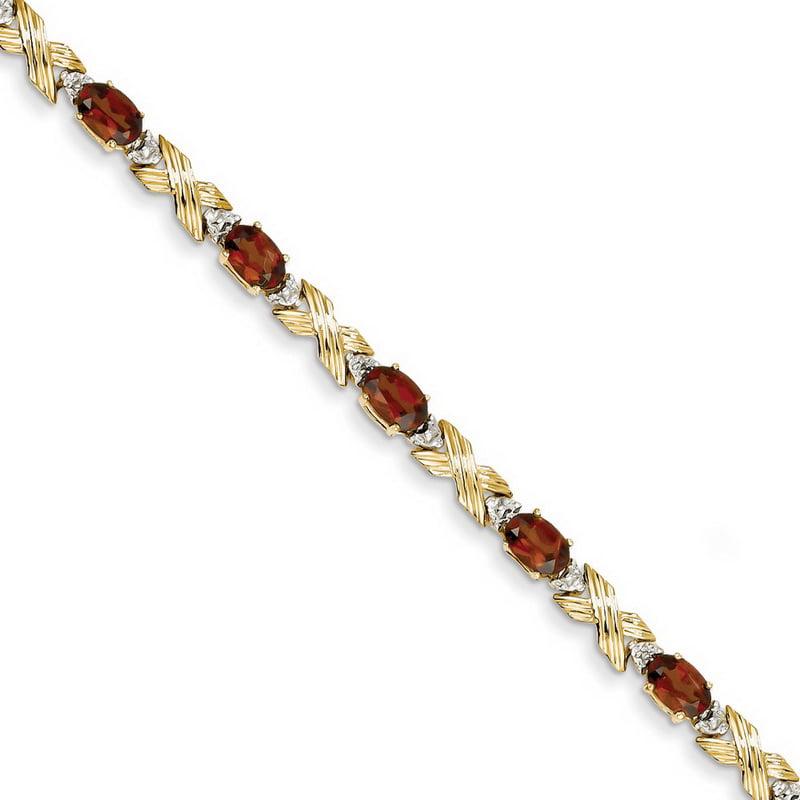 14k Yellow Gold Garnet & Diamond Bracelet by Kevin Jewelers