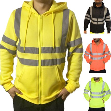 Men Hooded Jacket Sweatshirt Jumper PullOver Zipper Fleece Hoodie Work Safety