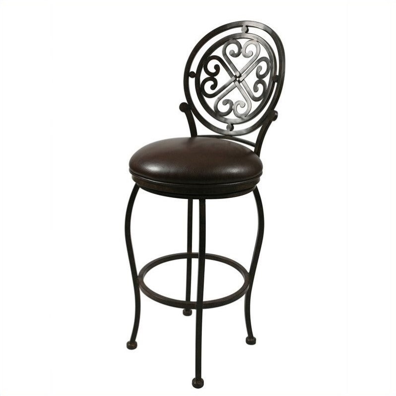 "Pastel Furniture Island Falls 26"" Swivel Counter Stool in Ford Brown by Pastel Furniture"