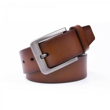 Belt For Men, 1.5 Wide Classic Design Genuine Leather Trendy Dress Belt - Cognac